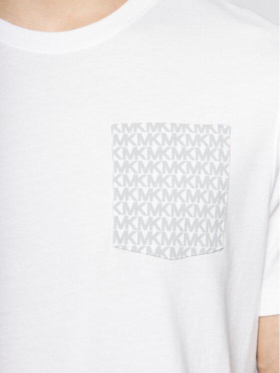 MICHAEL Michael Kors MICHAEL Michael Kors Tricou Logo-Print Pocket CR95J46FV4 Alb Slim Fit