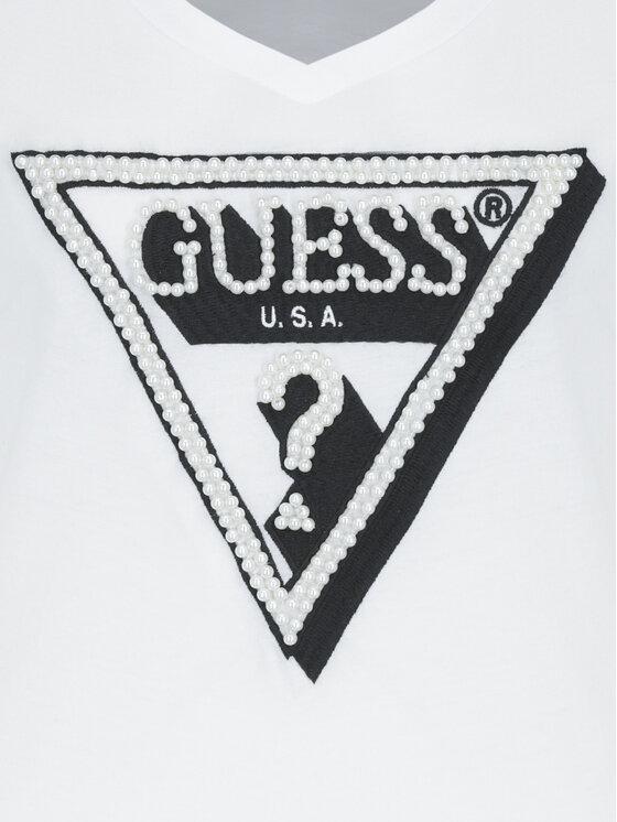 Guess Guess Tricou W92I60 K7WS0 Alb Regular Fit