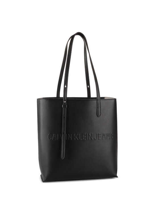 Calvin Klein Jeans Calvin Klein Jeans Torebka Box N/S Tote W/ Zipper K60K605533 Czarny