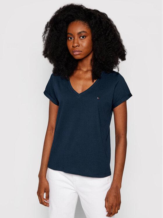 Tommy Hilfiger Tommy Hilfiger T-Shirt Low V UW0UW00676 Σκούρο μπλε Regular Fit