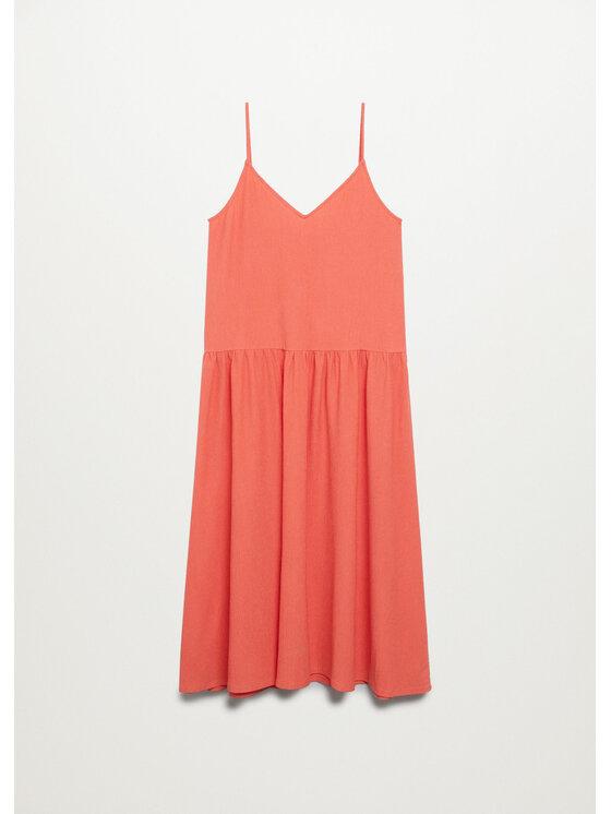Mango Mango Sukienka letnia Salma 87039036 Pomarańczowy Regular Fit