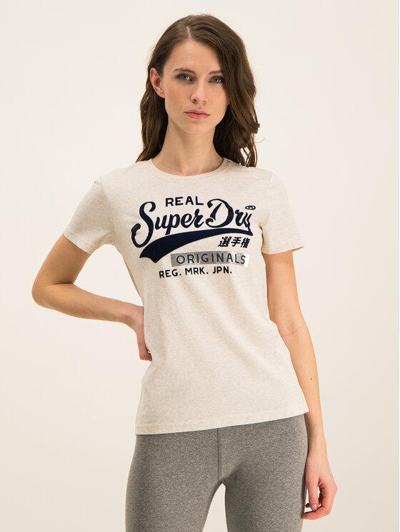 Superdry Superdry T-Shirt W1000020A Béžová Regular Fit