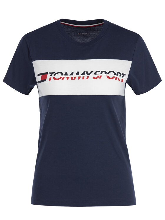 Tommy Sport Tommy Sport T-Shirt S10S100123 Tmavomodrá Regular Fit