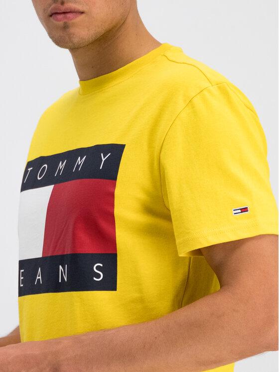 Tommy Jeans Tommy Jeans T-Shirt Flag Logo DM0DM07009 Żółty Regular Fit