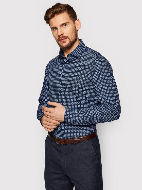 Tommy Hilfiger Tailored Marškiniai Large Square Dot Print MW0MW16509 Tamsiai mėlyna Regular Fit