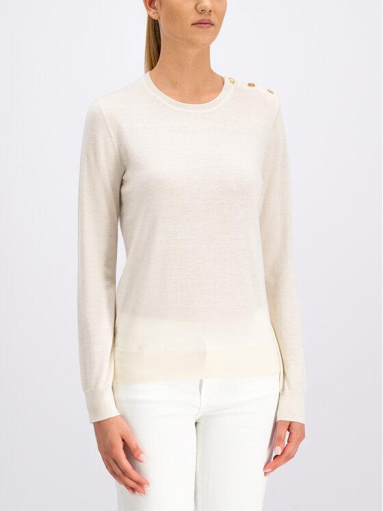 Tory Burch Tory Burch Pullover Logo-Button 55292 Weiß Slim Fit