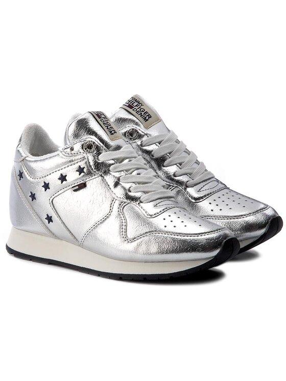 TOMMY HILFIGER TOMMY HILFIGER Laisvalaikio batai DENIM Lady 3Z1 FW0FW01877 Sidabrinė