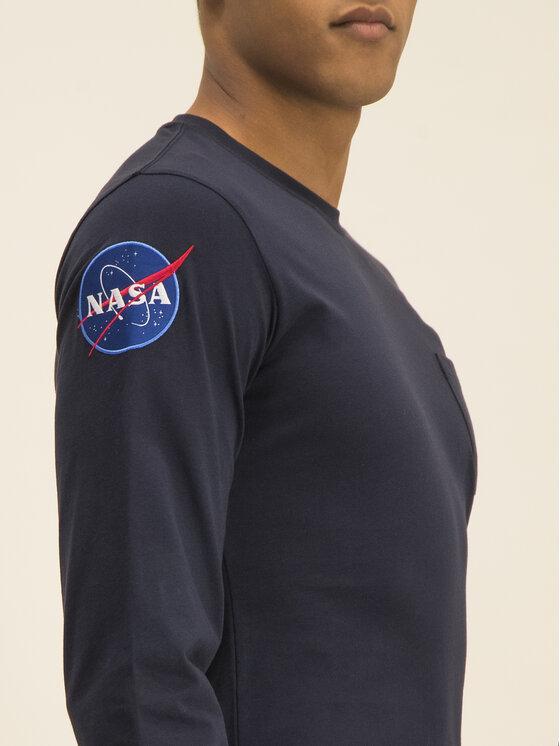 Alpha Industries Alpha Industries Marškinėliai ilgomis rankovėmis Nasa 176532 Tamsiai mėlyna Regular Fit