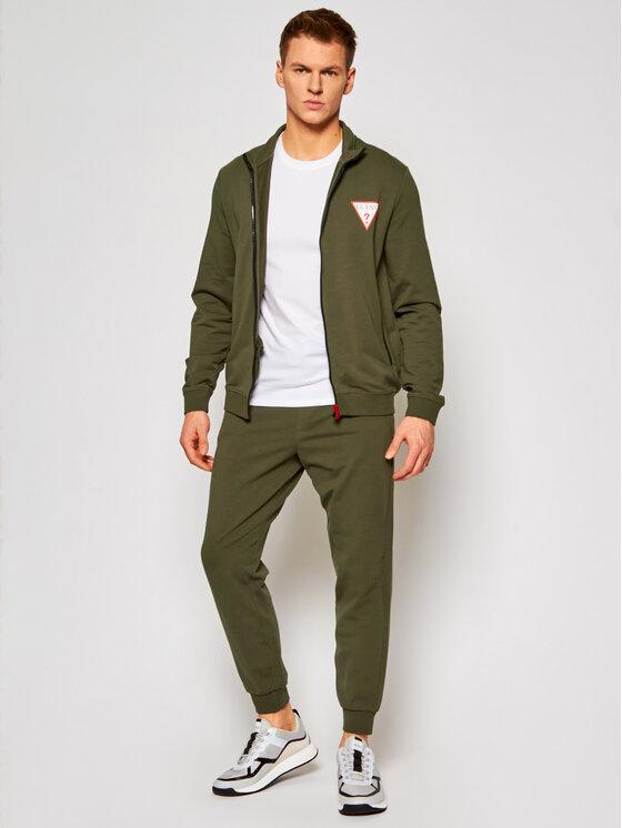 Guess Guess Spodnie dresowe M1RB37 K6ZS1 Zielony Slim Fit