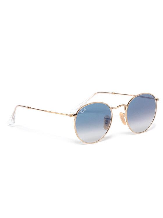 Ray-Ban Okulary przeciwsłoneczne Round Flat Lenses 0RB3447N 001/3F Złoty