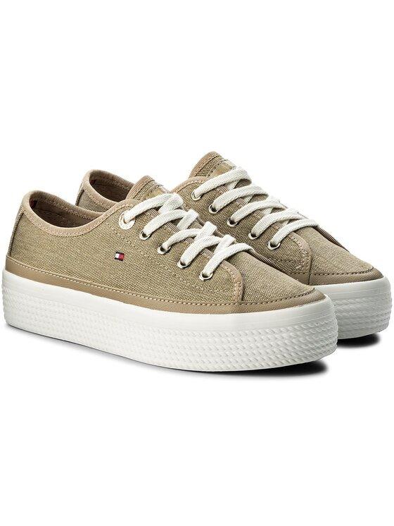 Tommy Hilfiger Tommy Hilfiger Laisvalaikio batai Glitter Textile Flatform Sneaker FW0FW02457 Ruda