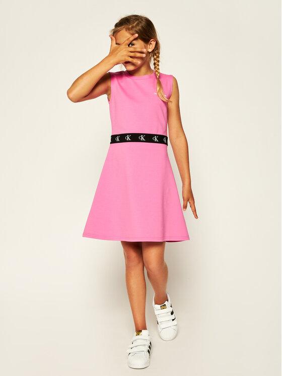 Calvin Klein Jeans Calvin Klein Jeans Ежедневна рокля Monogram Punto Skater IG0IG00471 Розов Regular Fit