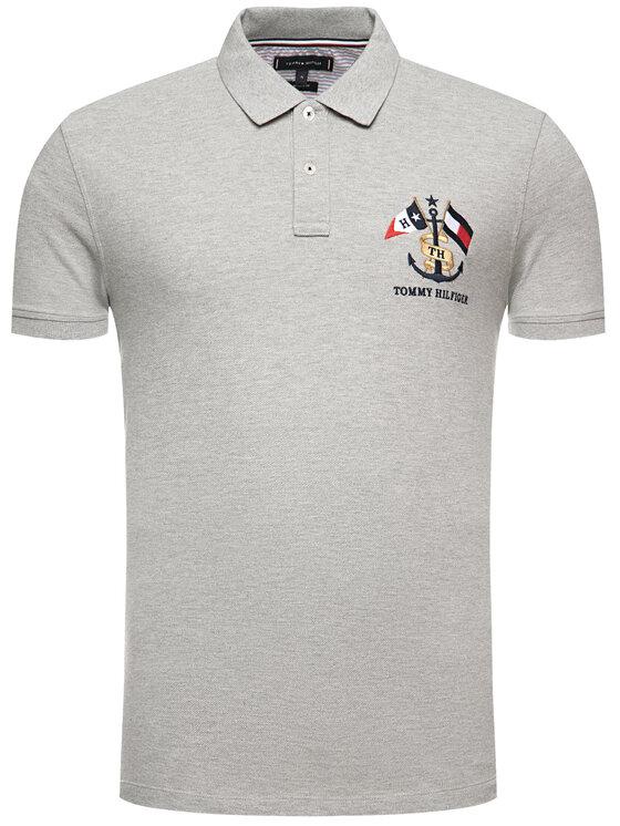 Tommy Hilfiger Tommy Hilfiger Polo marškinėliai Crest Embroidery MW0MW12402 Pilka Regular Fit