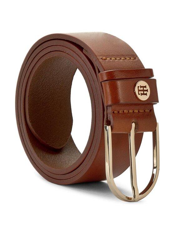 Tommy Hilfiger Tommy Hilfiger Dámský pásek Classic Dbl Loop TH Coin Belt 3,5 AW0AW03773 Hnědá