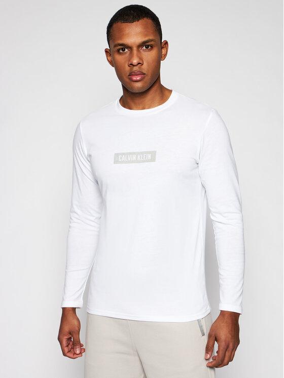 Calvin Klein Performance Marškinėliai ilgomis rankovėmis 00GMS1K141 Balta Regular Fit