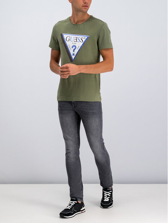 Guess Guess T-shirt M94I64 K7NY0 Verde Slim Fit