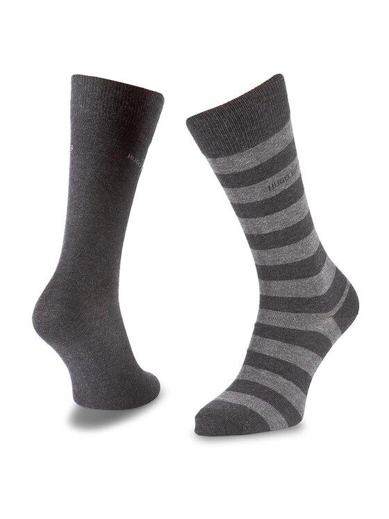 Boss Boss Vyriškų ilgų kojinių komplektas (2 poros) Twopack Block Stripe 50310459 Pilka