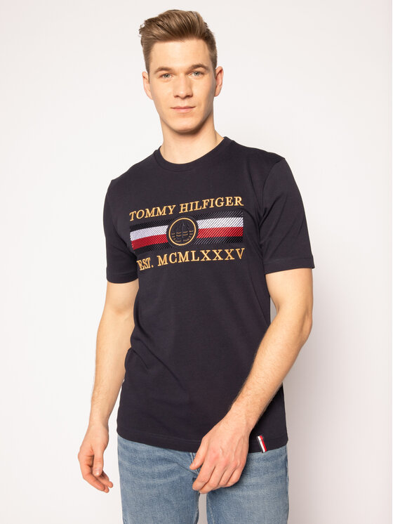 Tommy Hilfiger Tommy Hilfiger Тишърт Icon Stripe MW0MW13341 Тъмносин Relaxed Fit