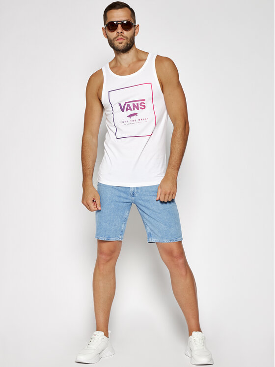 Vans Vans Tank top marškinėliai Print Box VN0A31EXVB81 Balta Regular Fit
