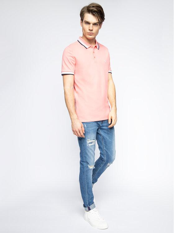 Guess Guess Тениска с яка и копчета Grady M02P40 K7O60 Розов Slim Fit