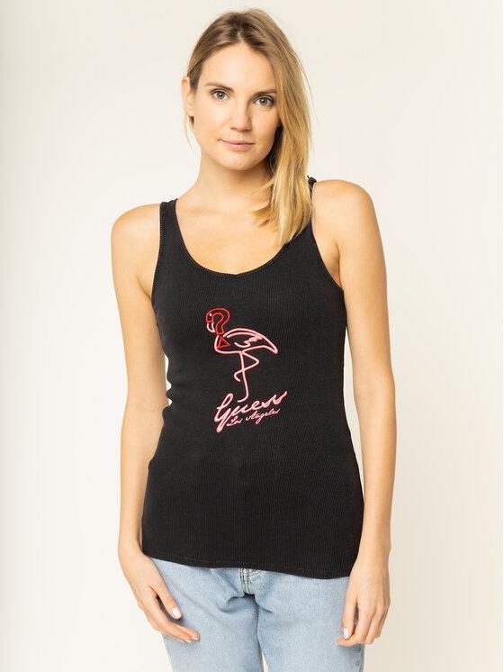 Guess Guess Felső Flamingo W01I73 K1810 Fekete Slim Fit