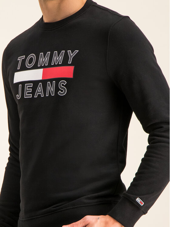 Tommy Jeans Tommy Jeans Mikina Tjm Essential Graphic Crew DM0DM07413 Černá Regular Fit