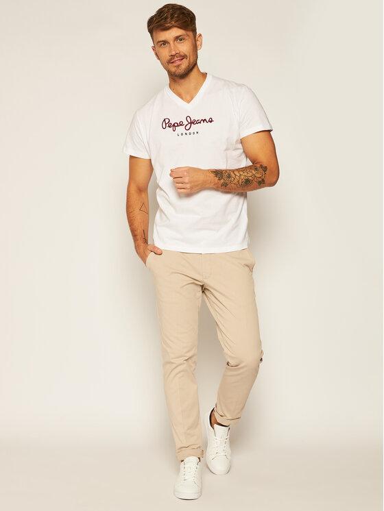 Pepe Jeans Pepe Jeans Tricou Eggo PM501389 Alb Regular Fit