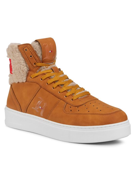 Tommy Hilfiger Sneakersy LEWIS HAMILTON Lh Shearling High Top Sneaker FM0FM03215 Brązowy