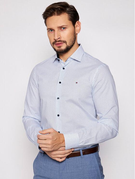 Tommy Hilfiger Tailored Marškiniai Mini Prt MW0MW16450 Mėlyna Slim Fit