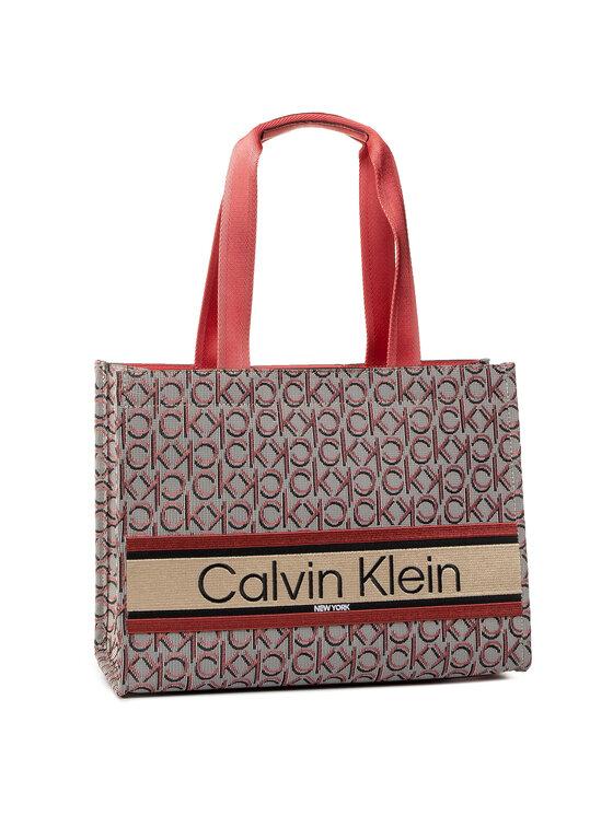 Calvin Klein Calvin Klein Torebka Stripe Logo Tote Md Jacq K60K606506 Szary