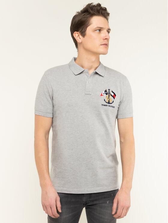 Tommy Hilfiger Tommy Hilfiger Тениска с яка и копчета Crest Embroidery MW0MW12402 Сив Regular Fit