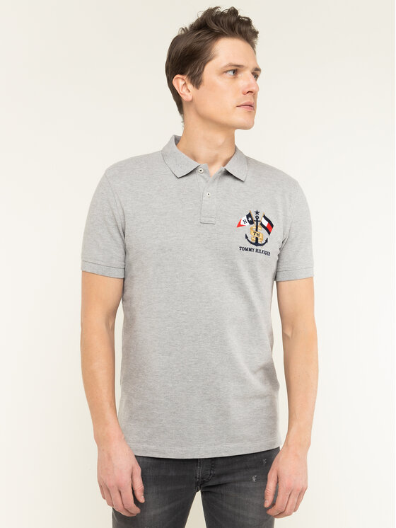Tommy Hilfiger Tommy Hilfiger Tricou polo Crest Embroidery MW0MW12402 Gri Regular Fit