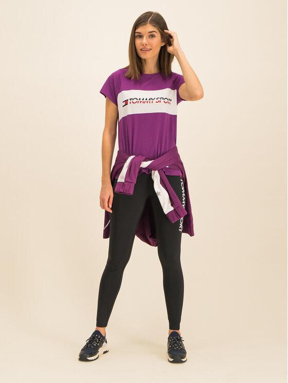Tommy Sport Marškinėliai Blocked Tee Logo S10S100331 Violetinė Regular Fit