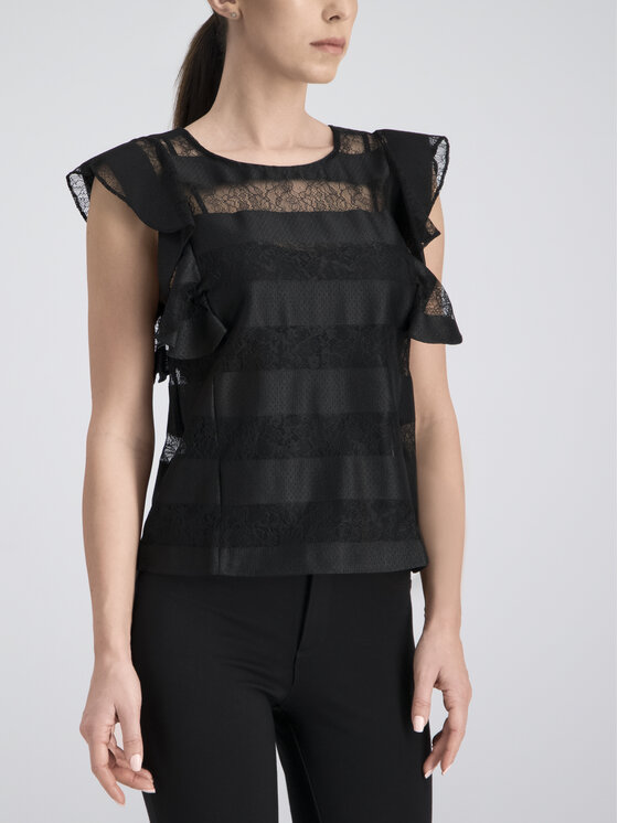 Guess Guess Bluse Stripe Pattern W92H0K WBKS0 Schwarz Regular Fit