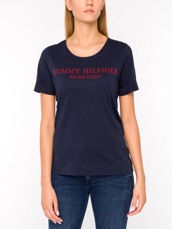 Tommy Hilfiger Tommy Hilfiger T-Shirt Kristal WW0WW25912 Granatowy Regular Fit