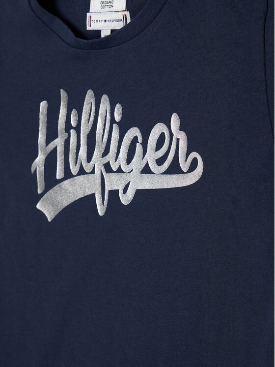 Tommy Hilfiger Tommy Hilfiger T-Shirt Foil Tee KG0KG05545 Granatowy Regular Fit