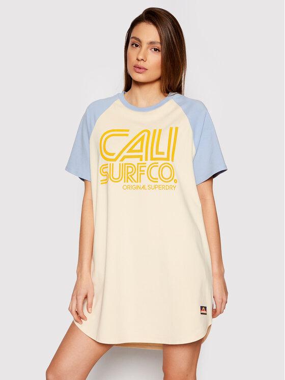 Superdry Sukienka codzienna Cali Surf Raglan W8010812A Żółty Regular Fit