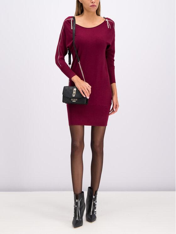Guess Guess Sukienka dzianinowa Carmen W94K1F Z2760 Bordowy Slim Fit