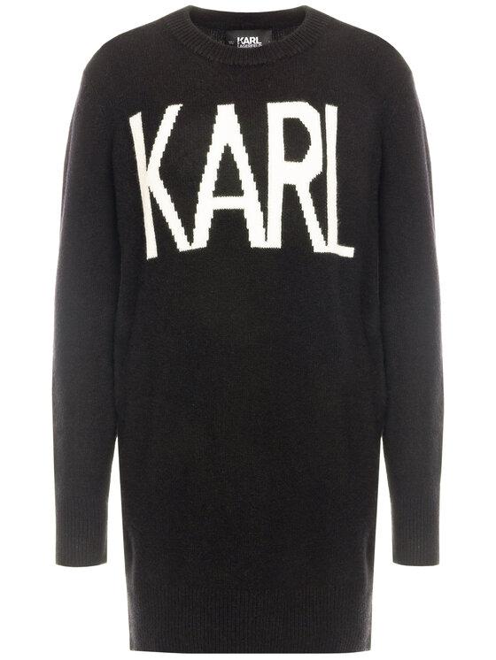 KARL LAGERFELD KARL LAGERFELD Rochie tricotată Oui 96KW2012 Negru Regular Fit
