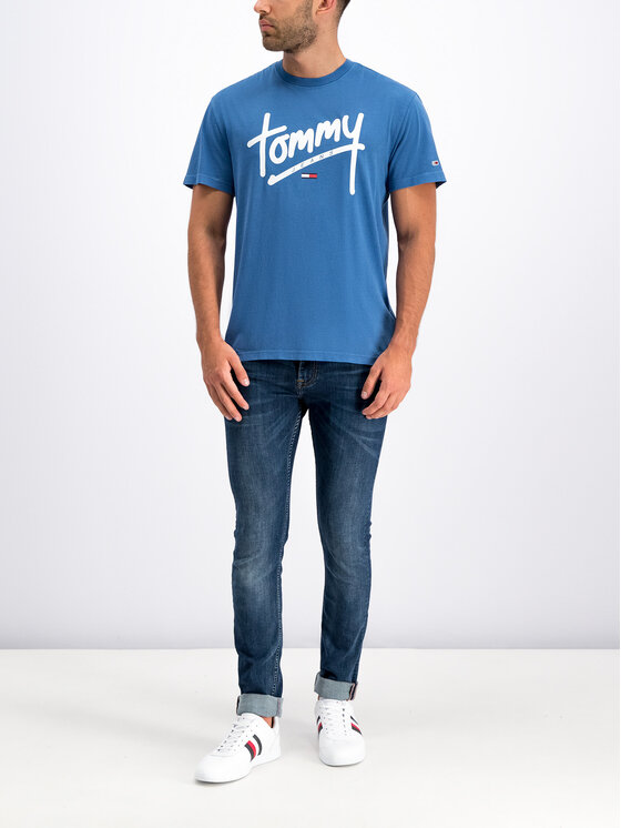 Tommy Jeans Tommy Jeans Tričko Handwriting DM0DM06478 Modrá Regular Fit