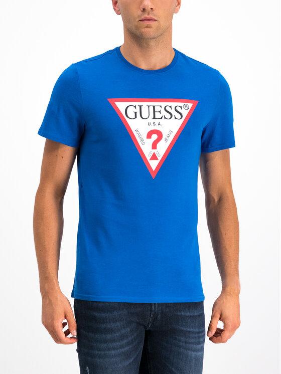 Guess Guess Marškinėliai M94I42 I3Z00 Mėlyna Slim Fit