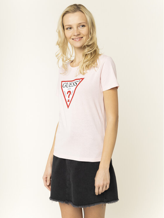 Guess Guess T-Shirt Basic Triangle Tee W01I98 JA900 Růžová Regular Fit