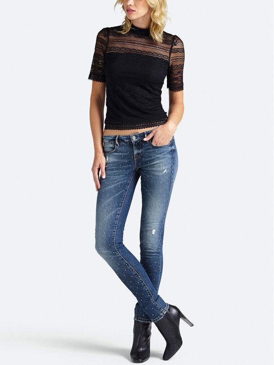 Guess Guess Блуза W93P72 K86T0 Черен Slim Fit