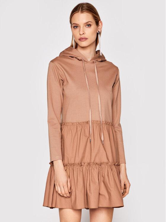 Rinascimento Sukienka dzianinowa CFC0102176003 Brązowy Regular Fit