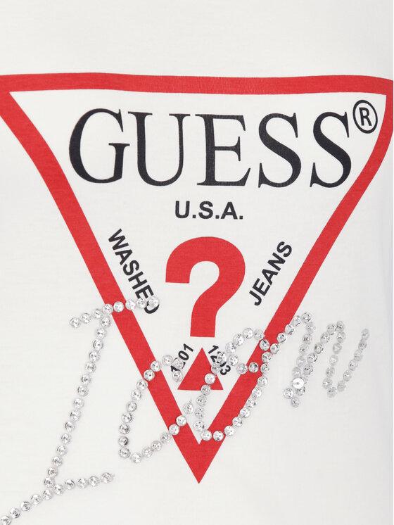 Guess Guess Tricou W92I59 K75R0 Alb Slim Fit