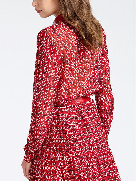 Guess Guess Koszula W93H91 WBTY0 Czerwony Regular Fit