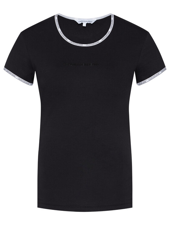 Calvin Klein Jeans Calvin Klein Jeans T-Shirt Logo Trim J20J214227 Černá Regular Fit