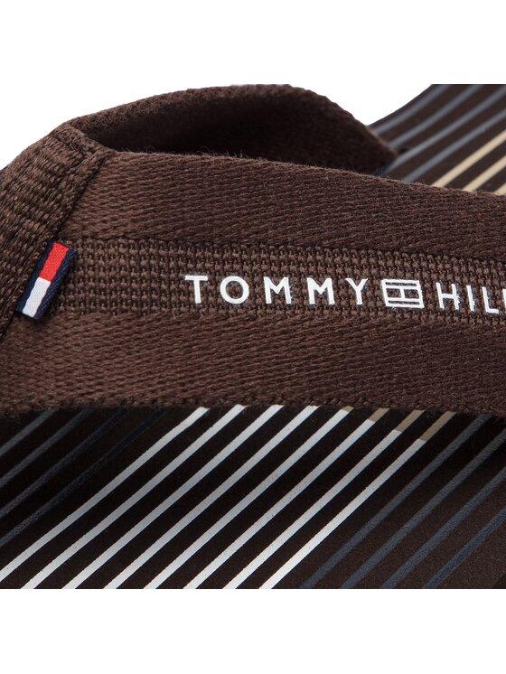 Tommy Hilfiger Tommy Hilfiger Japonki Striped Footbed Beach Sandal FM0FM01933 Brązowy