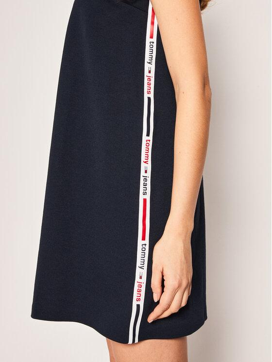 Tommy Jeans Tommy Jeans Sukienka dzianinowa Tape Detail A-Line DW0DW07919 Granatowy Regular Fit