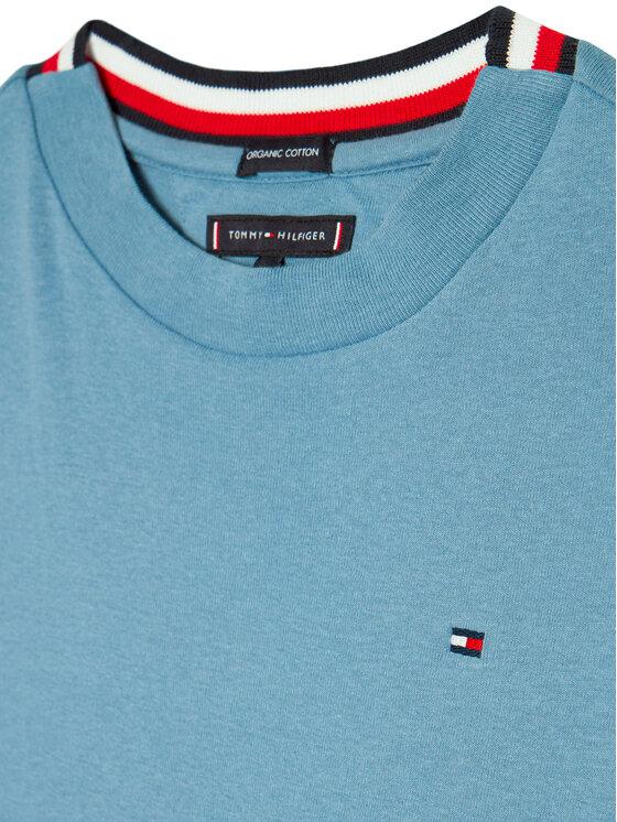 Tommy Hilfiger Tommy Hilfiger Bluzka Solid Rib Tee KB0KB06212 D Niebieski Regular Fit
